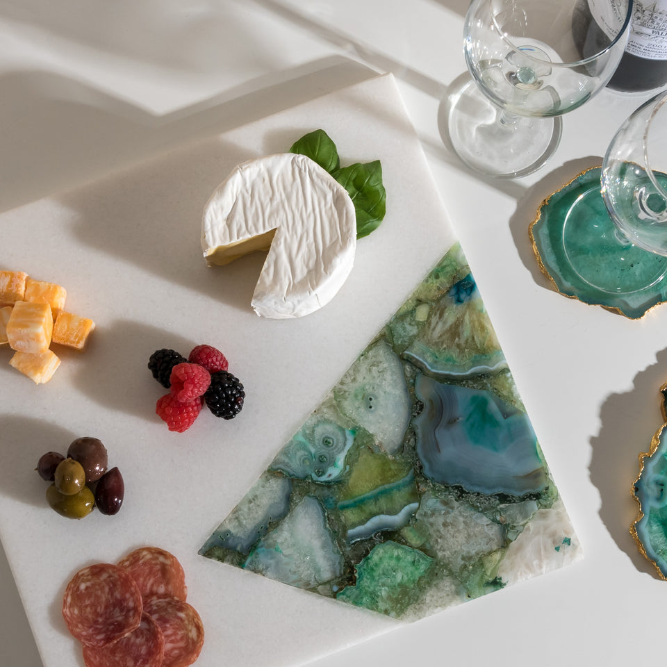 Square Marble and Green Agate Serving Board