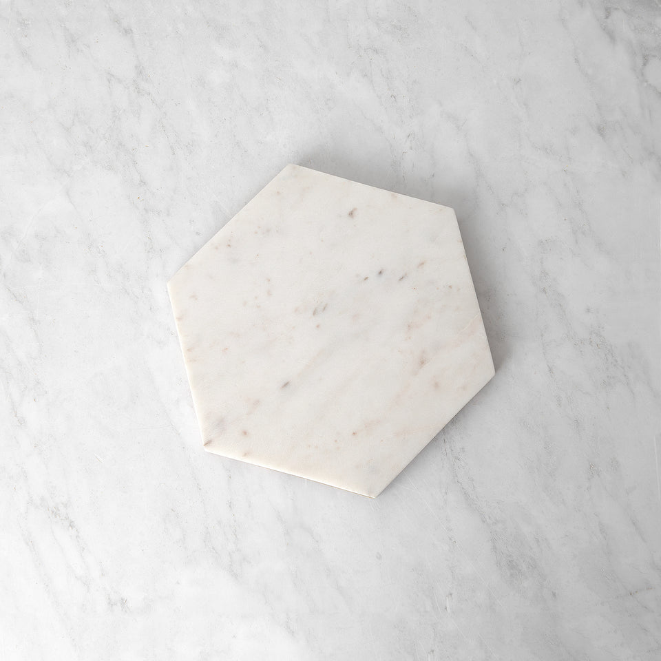 Marble and Wood Reversible Hexagon Tray