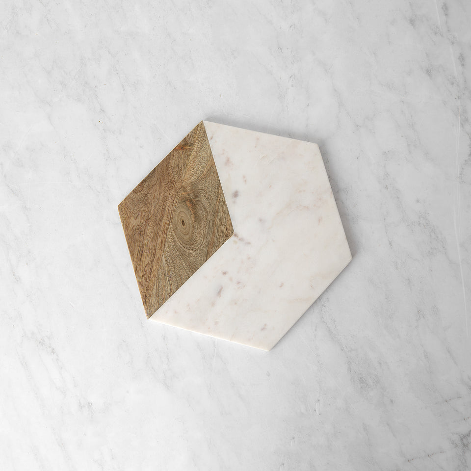 Marble and Wood Hexagon Serving Board
