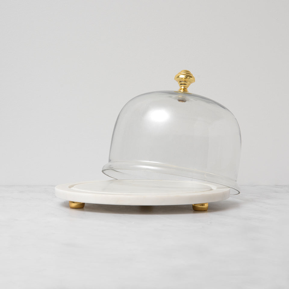 White Marble Tray with Glass Dome
