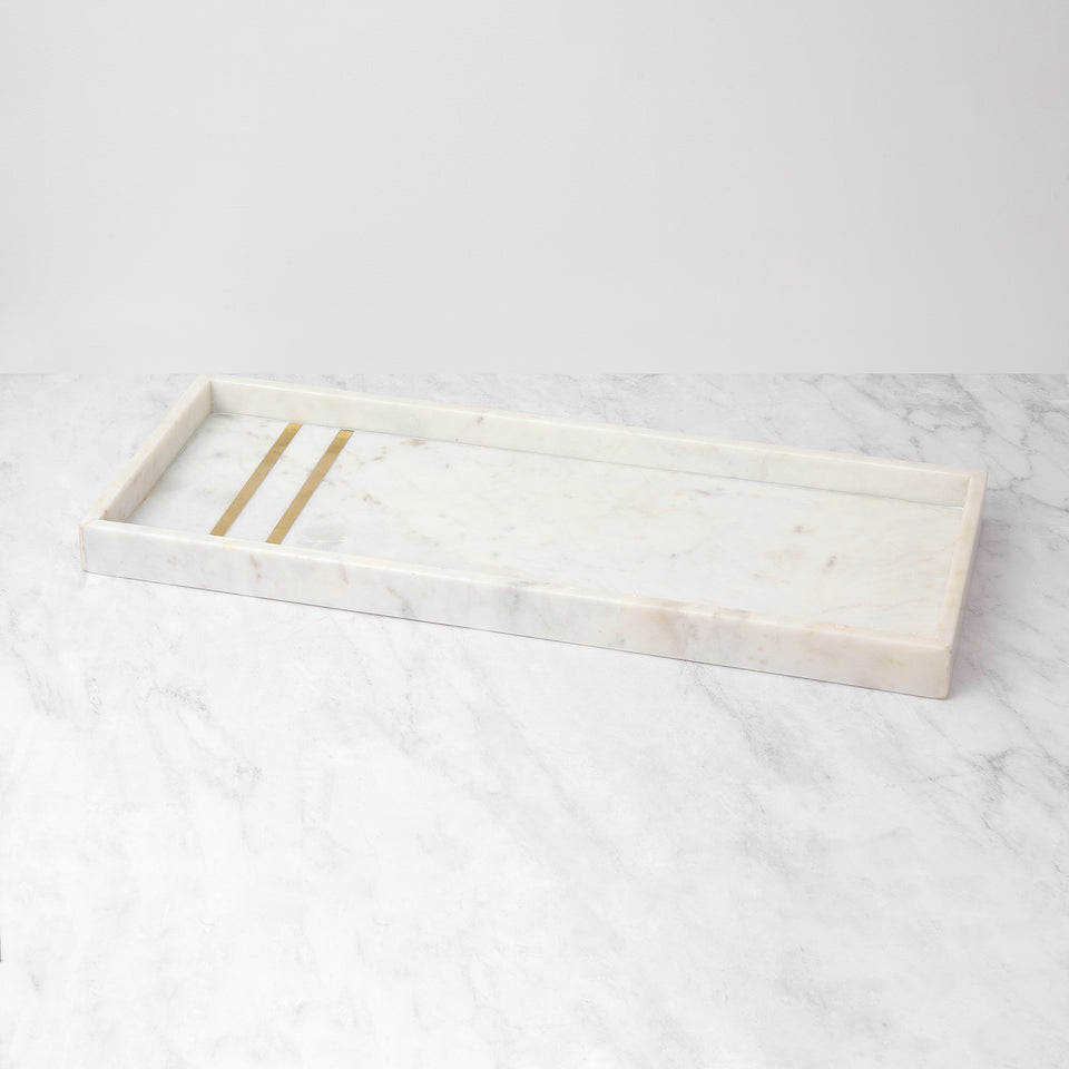 White Marble Tray with Brass Inlay