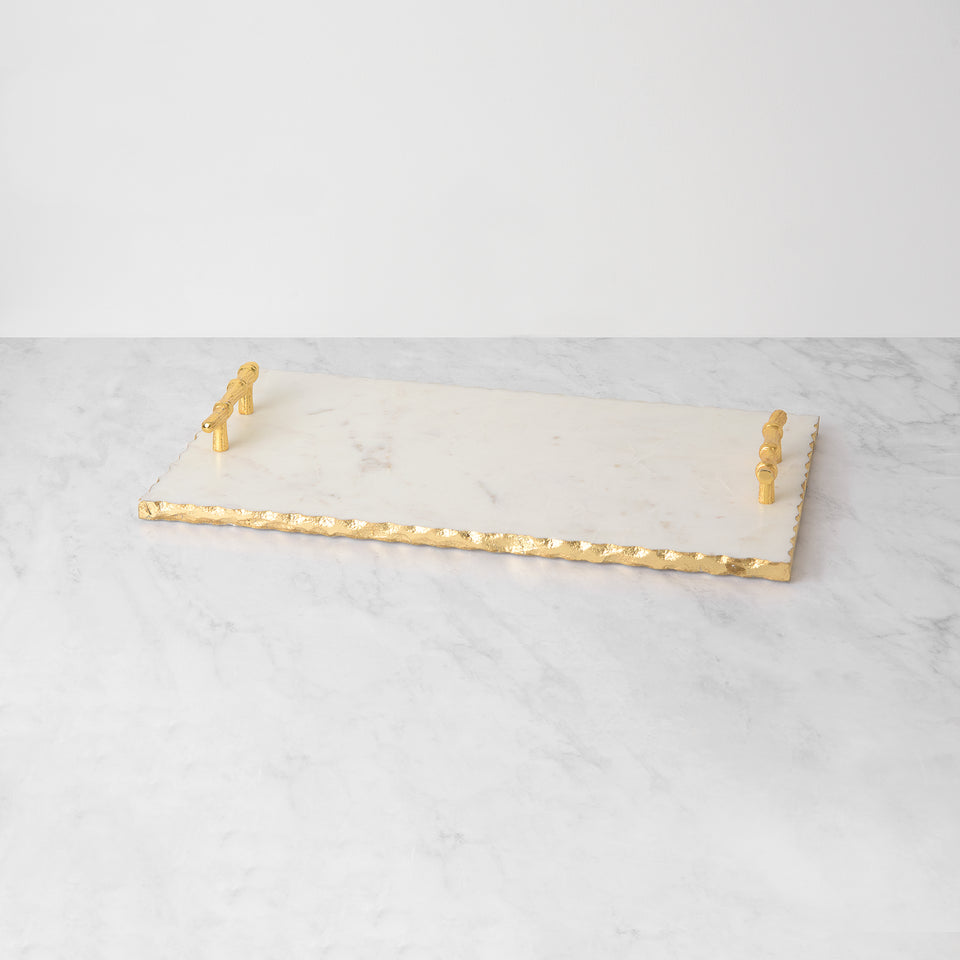 White Marble Tray with Gold Foil Edge and Handles