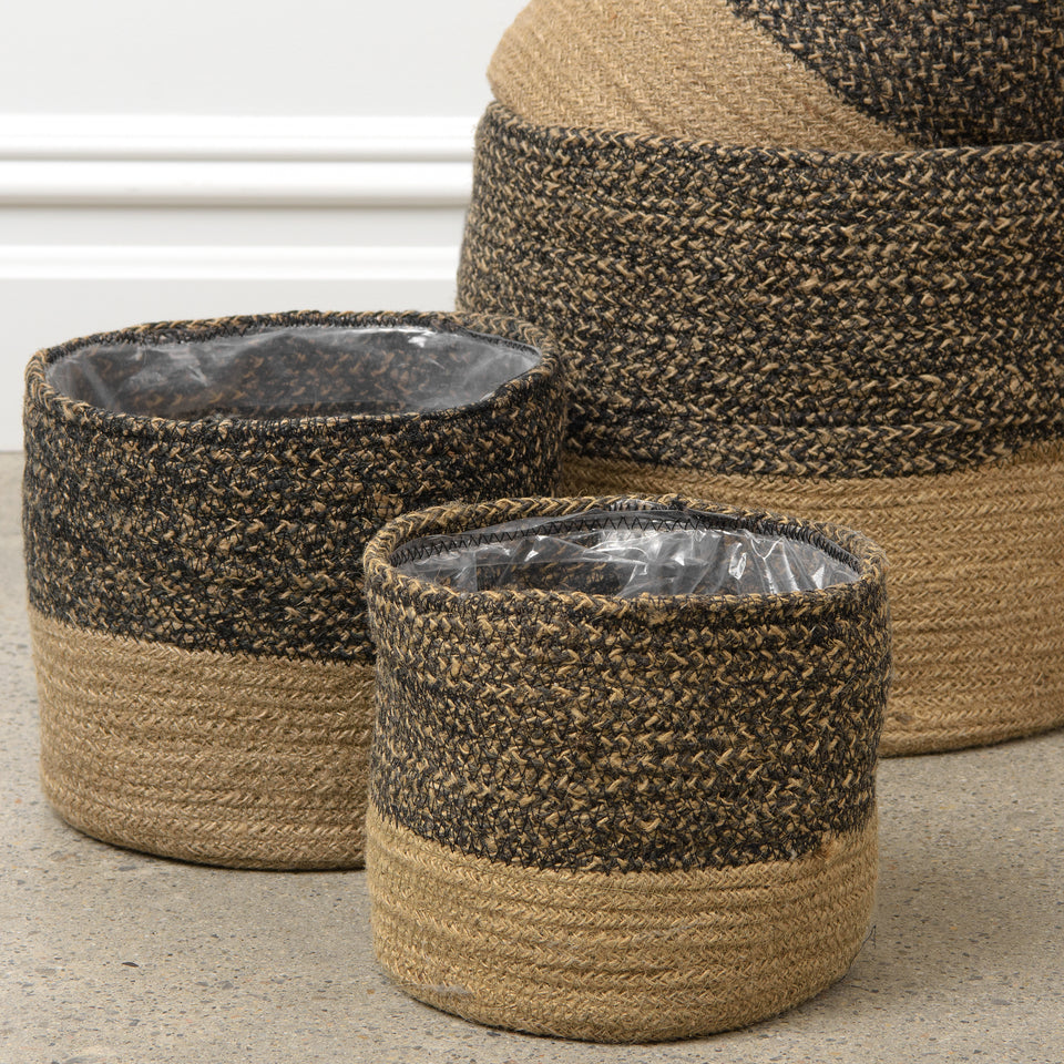Colorblock Jute Basket with Lining