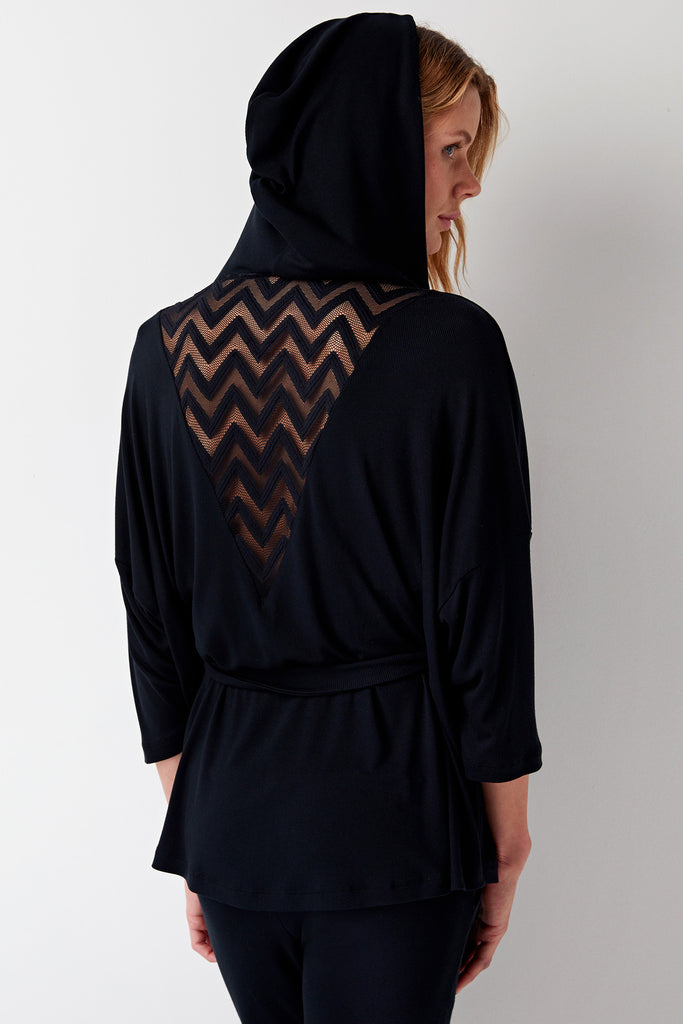 Chevron Cashmere Blend Tunic Jacket Hoodie