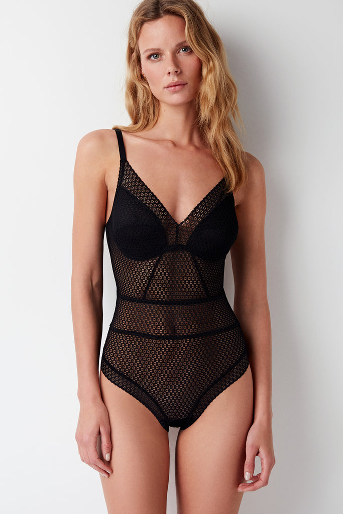 Pointelle Soft Cup Full Coverage Bodysuit