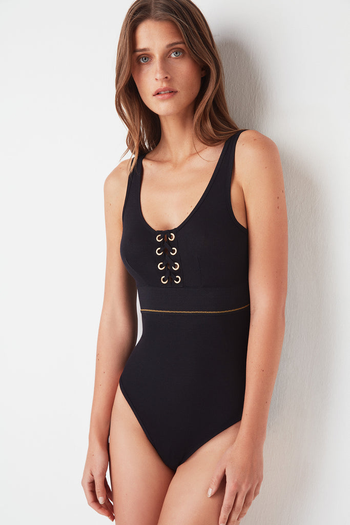 Urban Lace-Up Tank Bodysuit