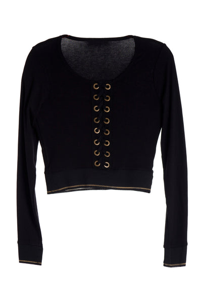 Urban Lace-Up Long Sleeved Cropped Top
