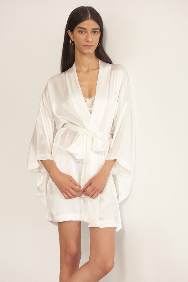 Bella Silk Midi Robe in Ivory