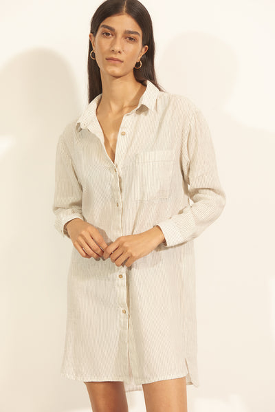 Lino Shirt Dress Off White/Black Striped