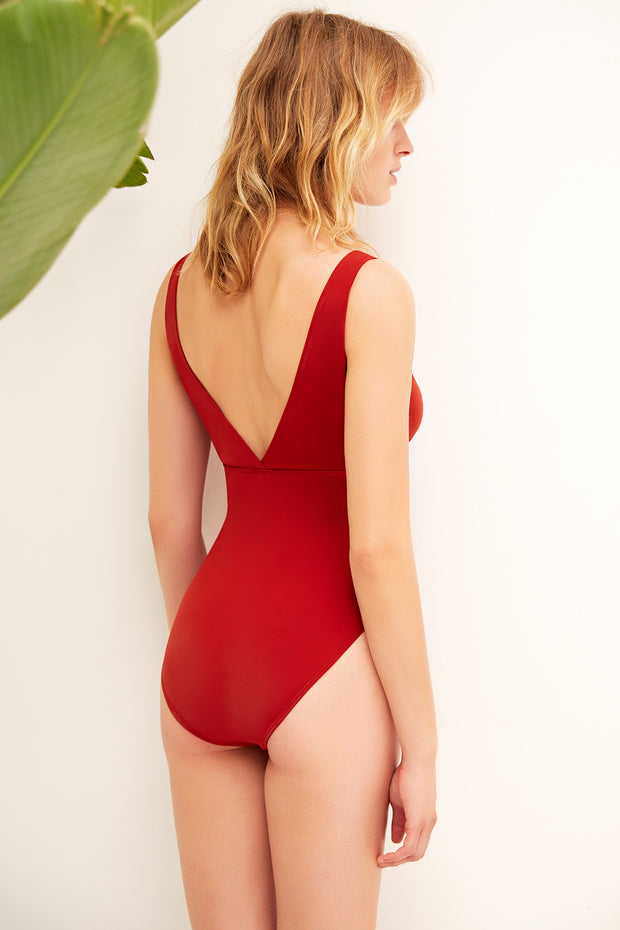 Mare Hidden Underwire Plunge One Piece Suit in Paprika