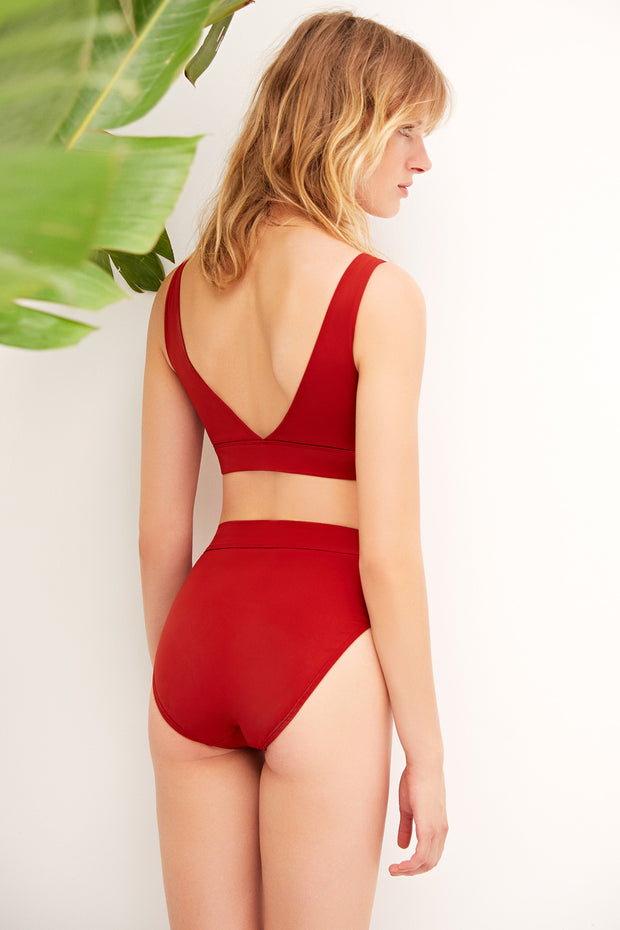 Mare Hidden Underwire Scoop Neck Bikini Top in Paprika