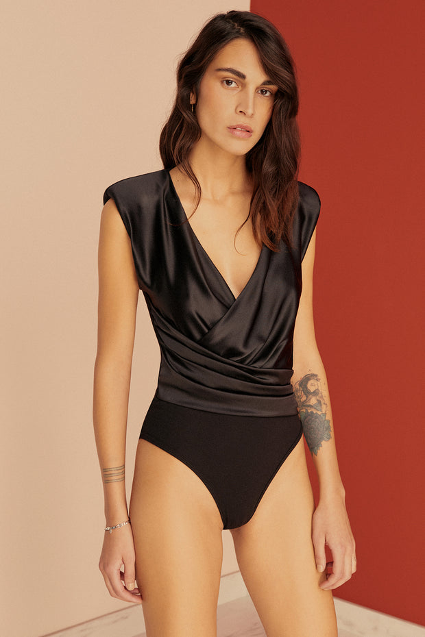 Giselle Power Shoulder Silk Wrap Bodysuit