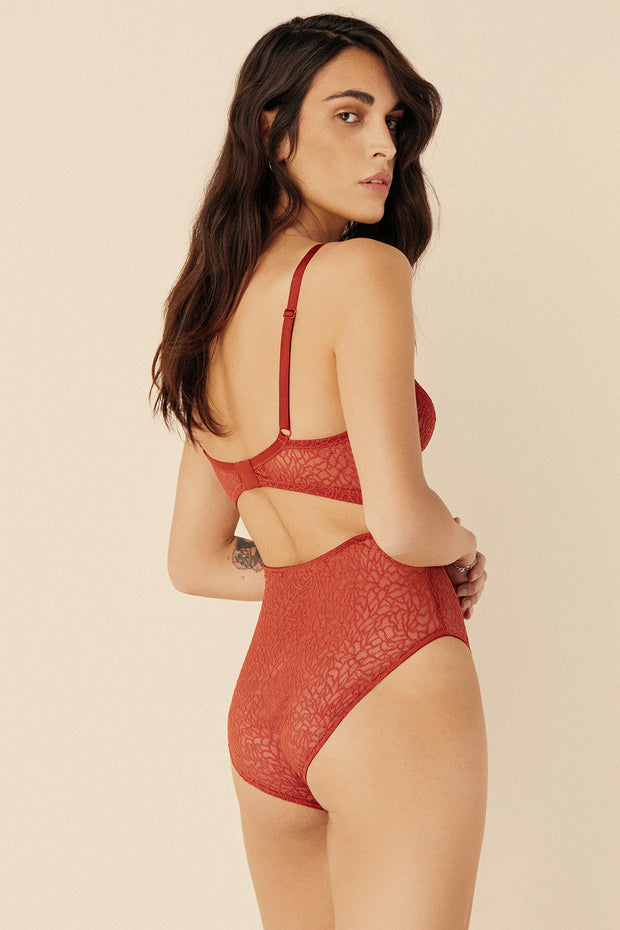 Zoe Soft Cut Out V Bodysuit in Paprika