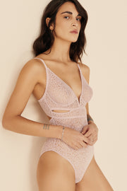 Zoe Soft Cut Out V Bodysuit in Artsy Pink