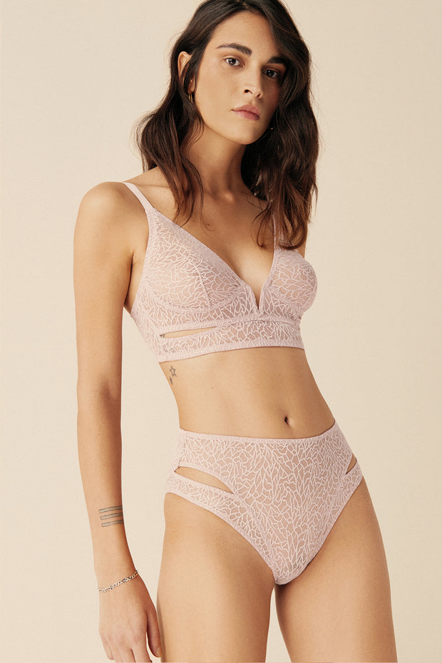 Zoe Soft Cup Cut Out V Bra in Artsy Pink