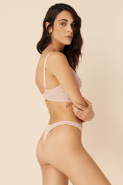 Zoe High Leg Thong in Artsy Pink