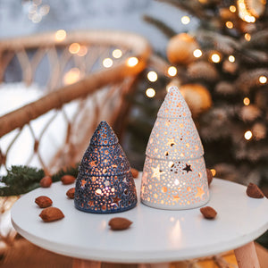 Ceramic Christmas Tree Candle Holder, Nordic Lantern Centerpiece