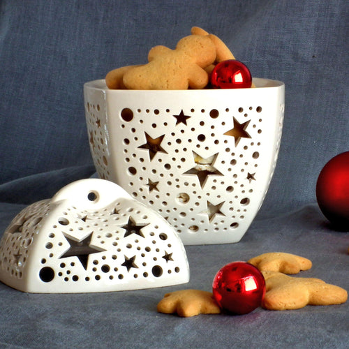 Christmas Ceramic Cookie Jar With Lid -Ceramic Bowl - CozyHomeIdeas