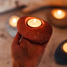 Load image into Gallery viewer, Imitation Stone Candle Holder. Burnt Orange -Candle Lantern - CozyHomeIdeas