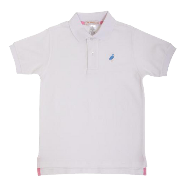 Prim & Proper Polo Worth Avenue White with Barbados Blue and Yellow Stork