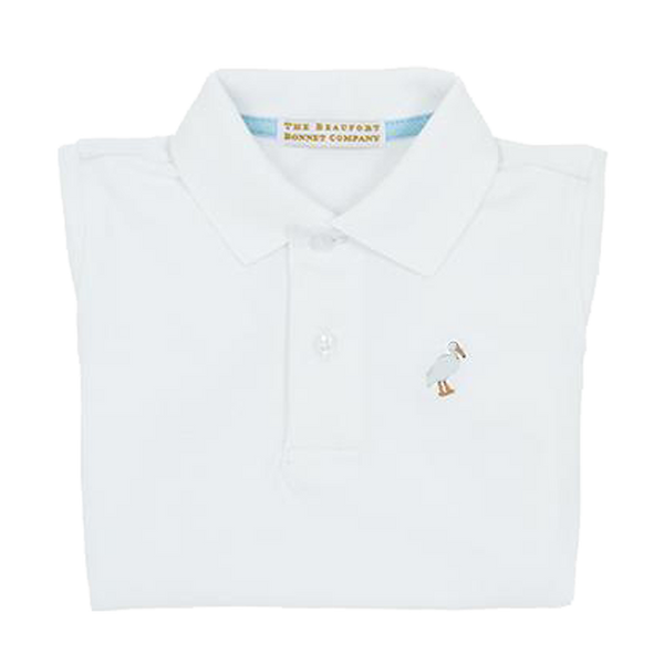 prim and proper polo - worth ave white w/ multi color stork