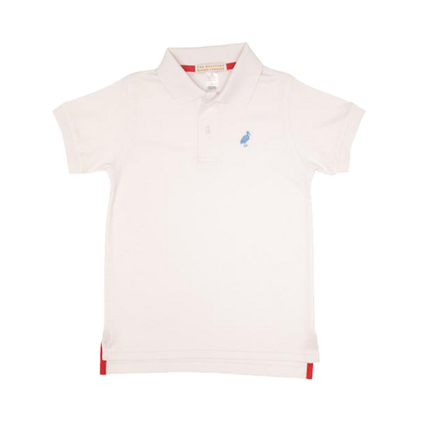 prim and proper polo - worth ave white w/ sunrise blvd blue stork