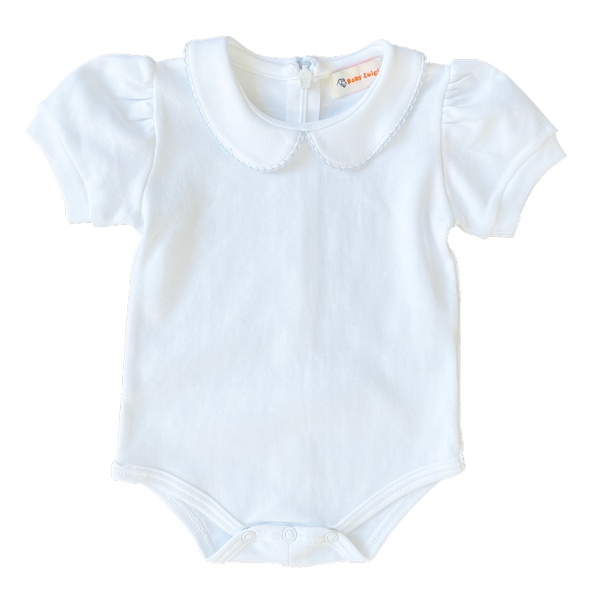 white knit onesie with blue picot trim peter pan