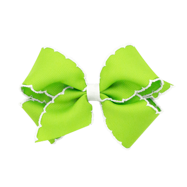 lime green with white moonstitch bow