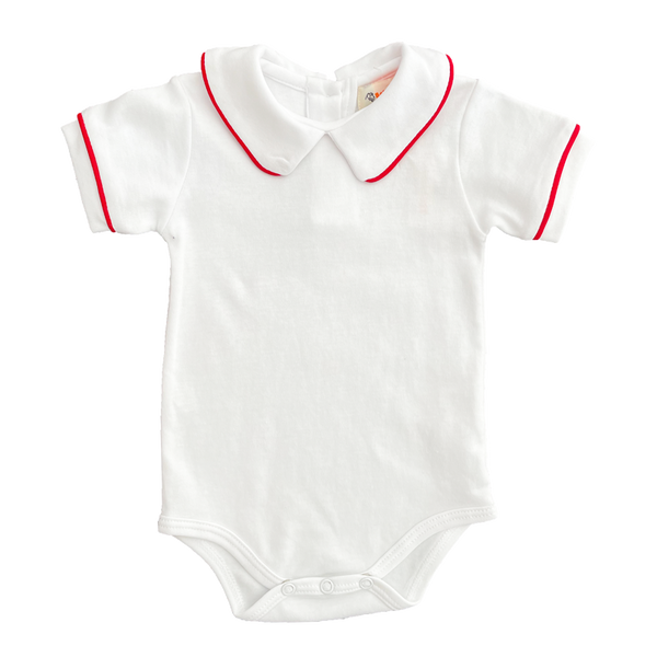 white knit onesie with red piping