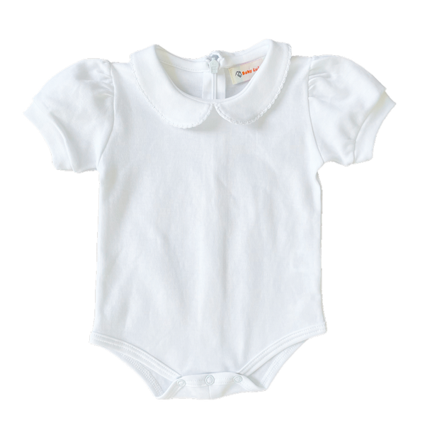 white knit onesie with white picot trim peter pan