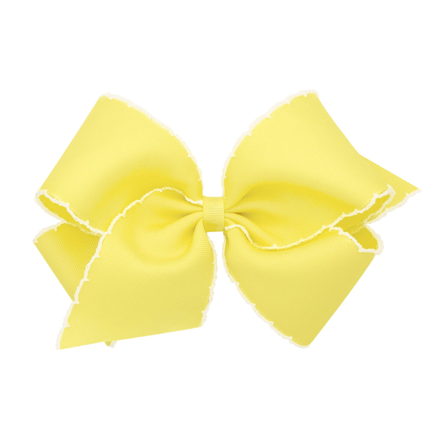 yellow with white moonstitch bow
