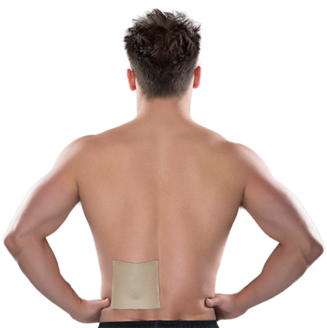 Male using lower back pain relief patch