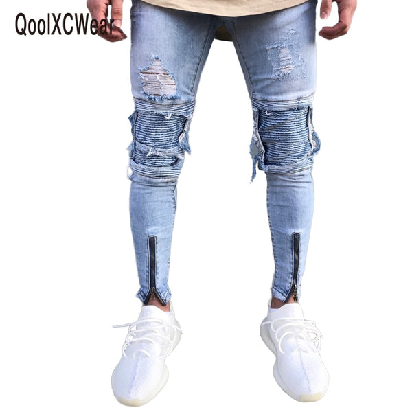 QoolXCWear Brand Designer Slim Fit Ripped Jeans Men Hi-Street Mens Distressed Denim Joggers Knee Holes Washed Destroyed Jeans