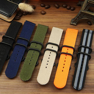 TEAROKE 6 Colors NATO Watchband Nylon Strap Black Ring Buckle 18mm 20mm 22mm 24mm Striped Replacement Band Watch Accessories