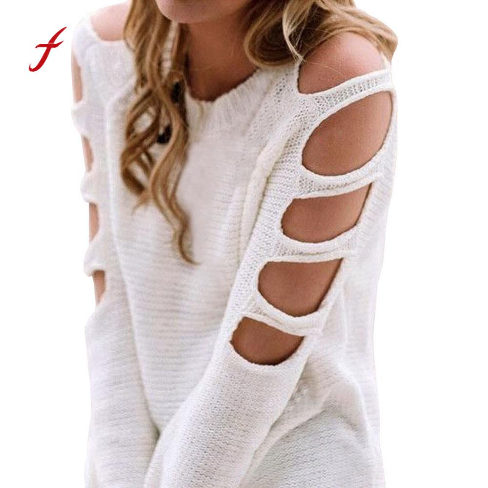 Feitong Quality Sexy Women Long Sleeve Jumper Keep Warm Pullover Cold Shoulder Knit Blouse Jumpers Female Sweater Top Shirt