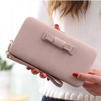 Purse bow wallet female famous brand card holders cellphone pocket PU leather women money bag clutch women wallet 505