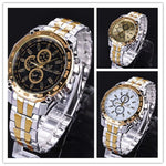 FANALA Men's Quartz Watch Stainless Steel Luxury Analog Quartz Wrist Watch(Multicolor=3pcs,black,gold,white)