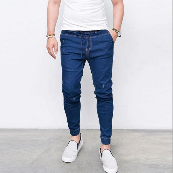 LASPERAL 2018 New Summer Spring Long Pencil Pants Casual Slim Jeans Mens Brands Fit Slim Trousers Elastic Waist Male Pantalones