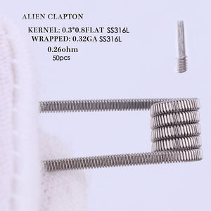 XFKM 50/100 pcs twisted  Fused Hive clapton coils premade wrap Alien Mix twisted Quad Tiger Heating Resistance rda coil