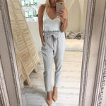 DBHFYK 2018 summer Fashion Women's New Solid color high waist female casual trousers OL chiffon harem pants pantalones