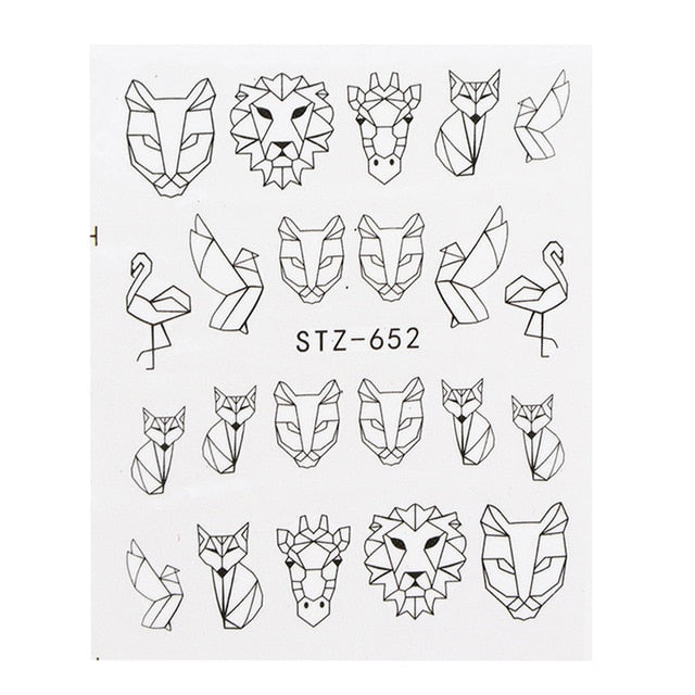 1 Sheet Water Nail Stickers Black Cartoon Animal Flamingo Fox Hollow Designs Sliders For Nail Decals DIY Manicure SASTZ651-654