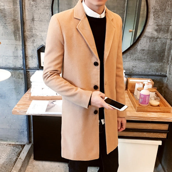 XMY3DWX New Winter Wool Coat Men Leisure Long Sections Woolen Coats Men's Pure Color Casual Fashion Jackets/Casual Men Overcoat