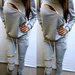 Hoodies Sweatpants Women's Sets Casual 2 Pieces Women's Clothing 2018 Spring Tracksuits Sportswear Female Zipper Hole Set