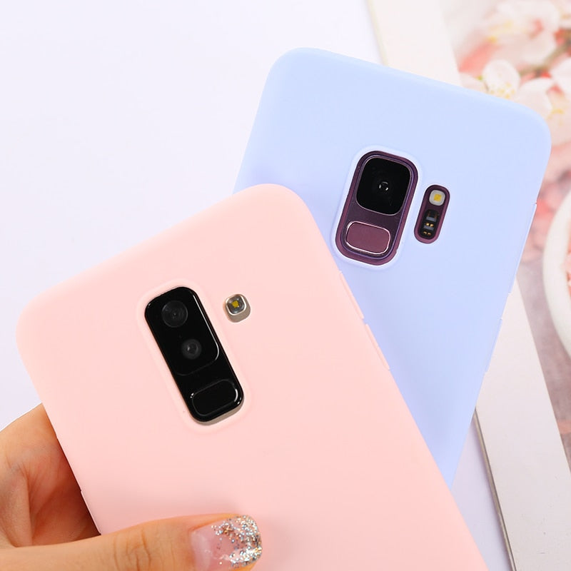 Candy Macaron Color Case For Samsung Galaxy A5 A7 J3 J5 J7 2017 2016 A8 A6 Plus J4 J6 J8 2018 S6 S7 S8 S9 Plus Note 8 Soft Cover