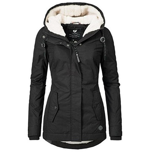 Winter Warm Coat Female Windproof Slim Outerwear Fashion Elastic Waist Zipper Pocket Hooded Drawstring Overcoats Autumn Clothes