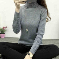 Thick Warm Women Turtleneck 2018 Winter Women Sweaters And Pullovers Knit Long Sleeve Cashmere Sweater Female Jumper Tops RE0973