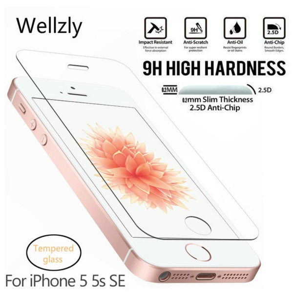 Wellzly 0.26mm 2.5D Protective Glass For iPhone 5S Tempered glass for iPhone 5 SE Screen Protector On Tempered Glass Film 9H HD
