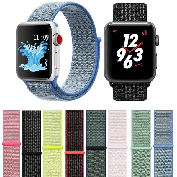 42mm 38mm Colorful Sport Nylon Loop Watch Strap For Apple Watch Band iWatch Series 4 3 2 1 Replace Straps Watch Bands 40mm 44mm