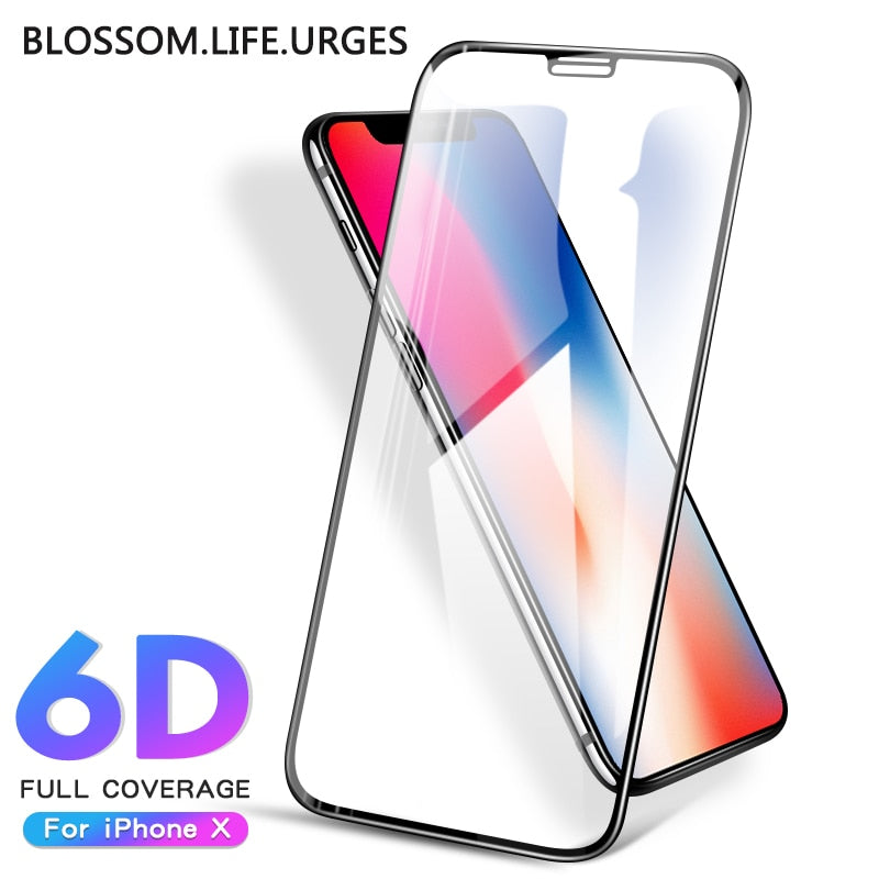 6D Fully covered tempered film for iphone x xs max Protective Glass on iPhone7 8 6s plus xr tempered film