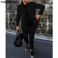 Stylish Mens Jackets Coats Autumn Turn-Down Collar Jacket Street Style Slim Fit Business Suit Hombre Mens Clothing INCERUN Male